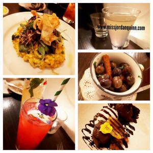 A collage of images from a dinner date, showing cocktails, olives, main course and dessert