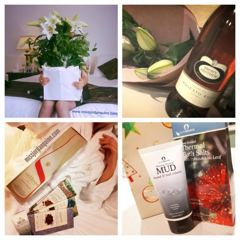 Photo collage of Miss Jordan Quinn's gifts, including flowers, wine, chocolate and hand cream