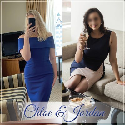 Chloe Beaumont and Jordan Quinn in blue dresses