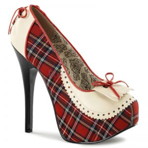 teeze 26-5-3-4 heel hidden platform pump in red plaid 3